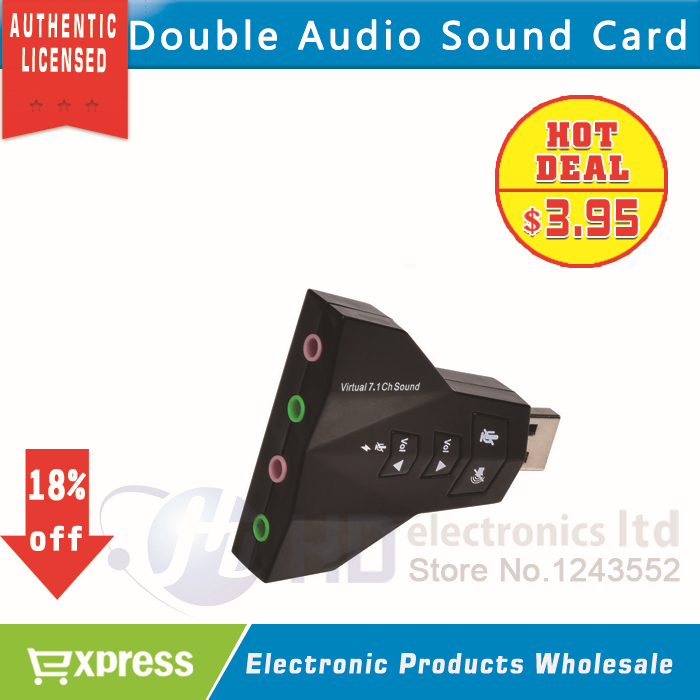 Free Shipping Double Sound Card Virtual 7.1 Channel USB 2.0 Audio Adapter Dual Microphone and Headset 7.1Ch 3D Audio Sound Card(China (Mainland))