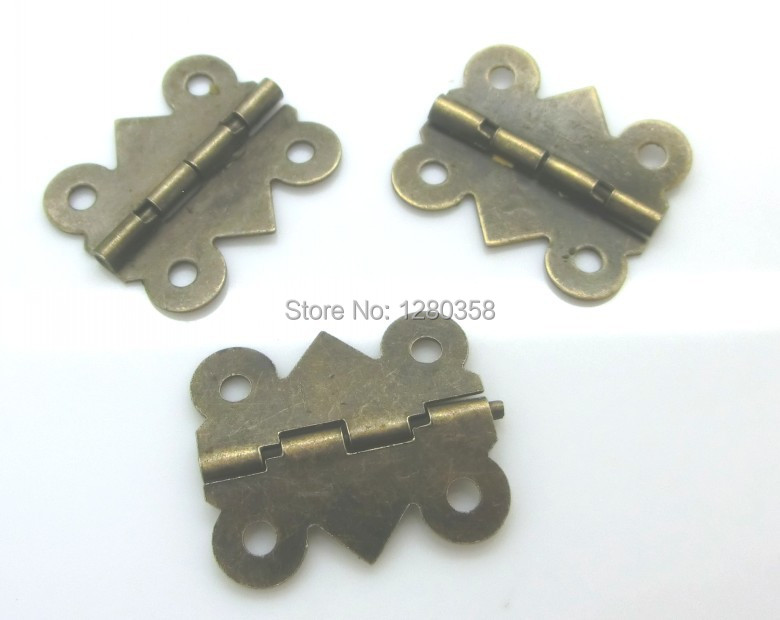 Free Shipping-50 PCs Door Butt Hinges For Box 4 Holes Antique Bronze 20x24mm,Wide Size:19mm-20mm D0019(China (Mainland))