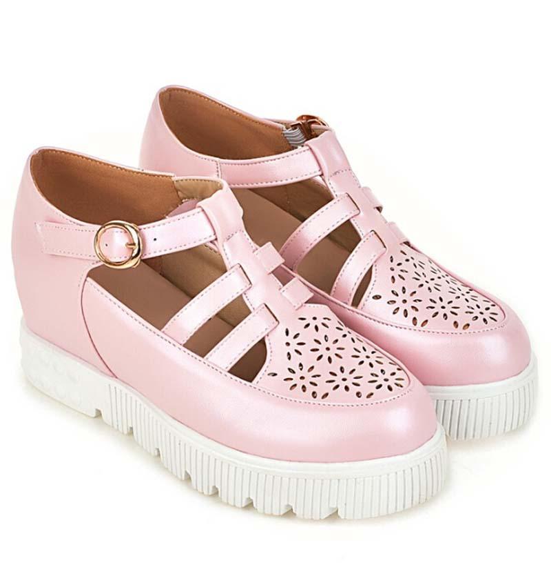 ENMAYER women pumps T strap fashion Wedges low high heels round toe platform pumps prom wedding shoes Casual shoes pumps sale