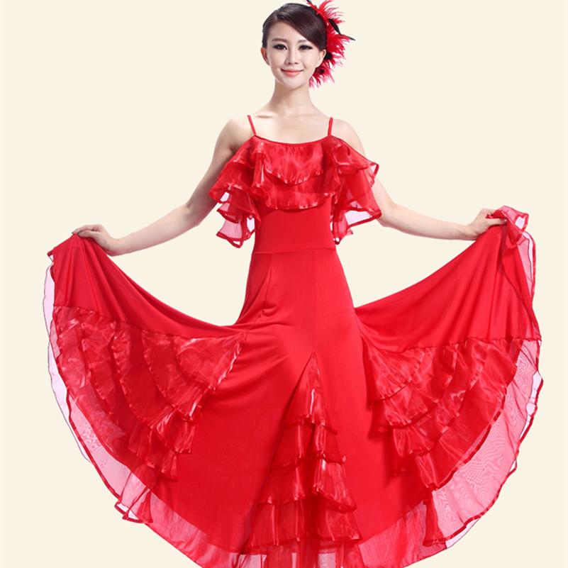 customize Big Pendulum Lotus Collar Flamenco Dance Dress Waltz Tango Foxtrot Performance Costumes Giant Swing Modern Dance dress(China (Mainland))