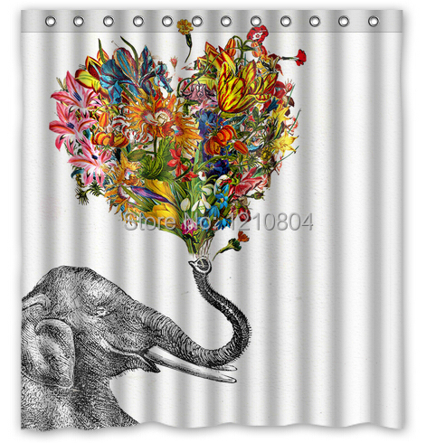Custom 66x72 Inch Newspaper Elephant Aztec Floral Shower Curtain Amazing Decorate your bathroom(China (Mainland))