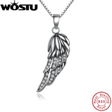 Brand Hot Sale 925 Sterling Silver Angel Wing Feather Pendant Necklaces With Clear CZ for Women Girls Jewelry Gift For Friends(China (Mainland))