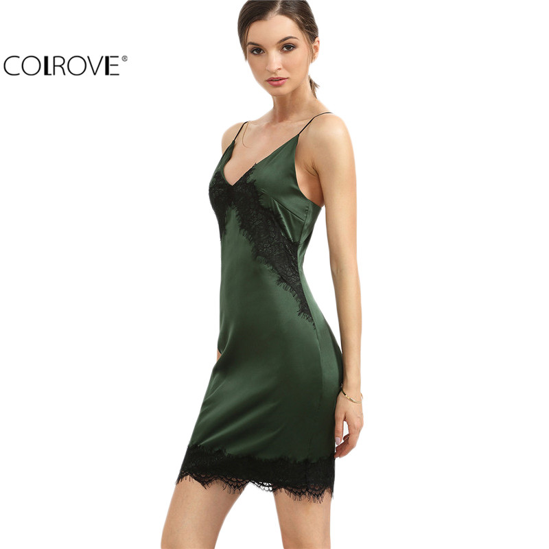 COLROVE Green Spaghetti Strap Lace Hem Backless Sheath Dress Sexy New Fashion Women Slip Deep V Neck Bodycon Mini Dress(China (Mainland))