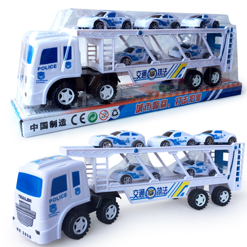 2016 NEW Police Cars Model 1 Truck Hauler + 5 Small Cars High Quality Kids Children Toys Holday Gift Diecasts & Toy Vehicles(China (Mainland))