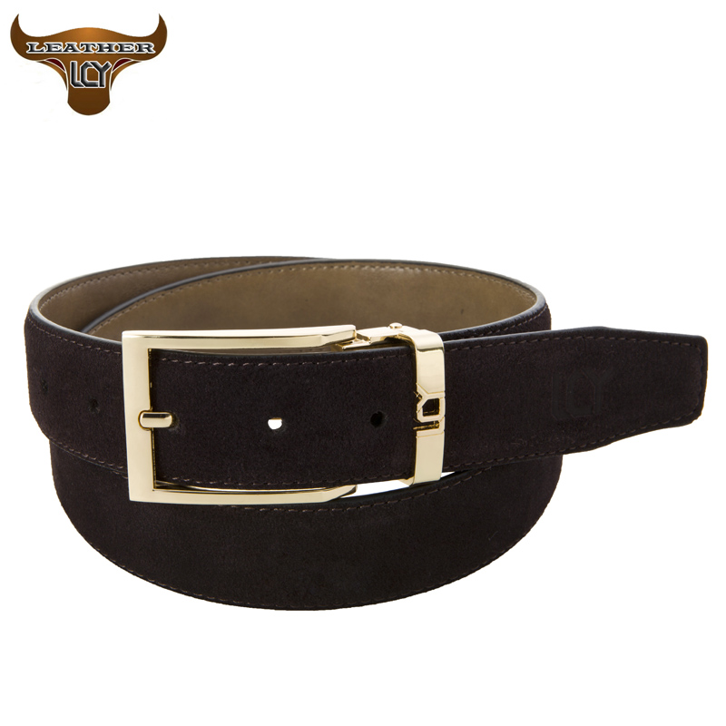 [LCY] Designer Belts Men High Quality Real Leather Belts for Business Men Metal Pin Buckle Suede Leather cinto masculino 350308(China (Mainland))