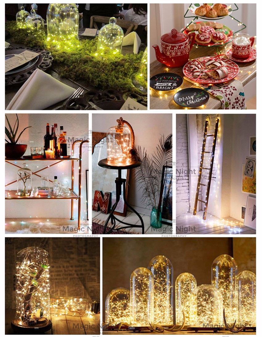 Magicnight 10ft 30 Warm White Mini Micro LED Seed Lights Submersible Fairy Lights Copper LED String Lighting AA Battery Powered