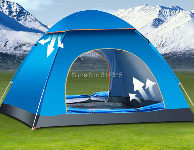 Automatic POLYESTER Fabric and Single Layers and 3-4 Person waterproof pop up tent outdoor camping tent(China (Mainland))