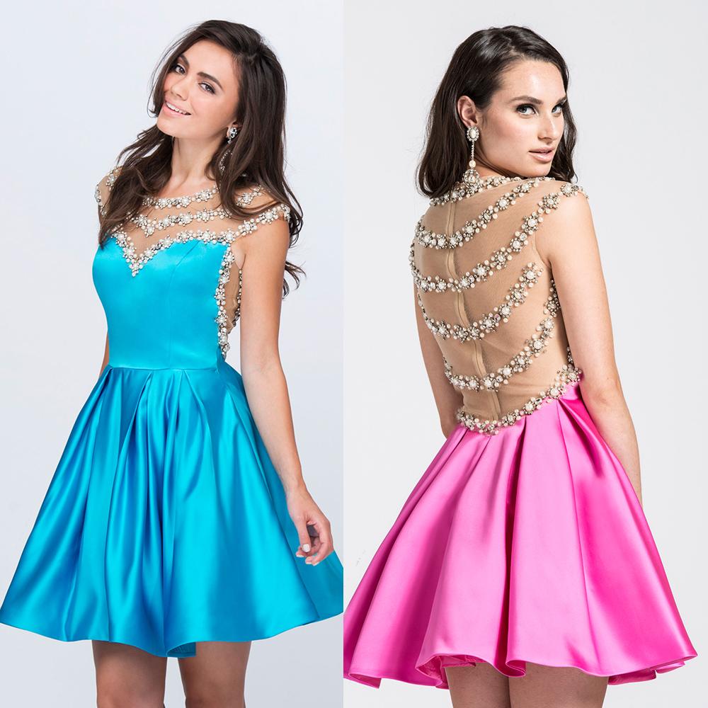 Black dress teenager - Black Blue Pink Luxury Cocktail Dress Short 2016 R