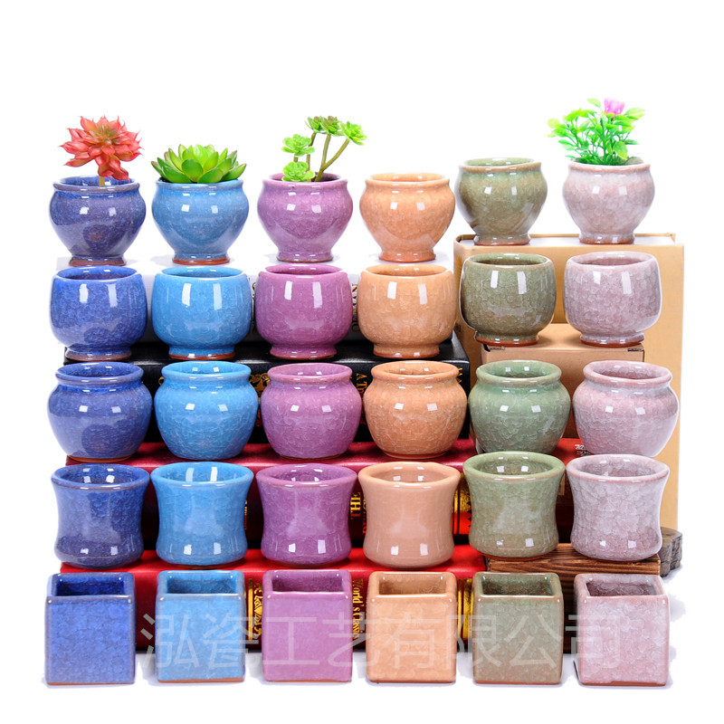 Ceramic flower pot ice crack Mini porcelain thumb flowerpot ZAKKA desktop fleshy flower pot decoration craft wholesale dropship(China (Mainland))