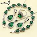 925 Silver Water Drop Wedding Jewelry Set For Women Green Stones White crystal Bracelet Earrings Necklace