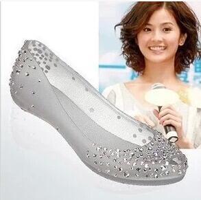 2016 Ladies Melissa Swarovski Diamond Crystal flat heel Sandals Women Fish Mouth Transparent Jelly Shoes open toe shoes woman(China (Mainland))