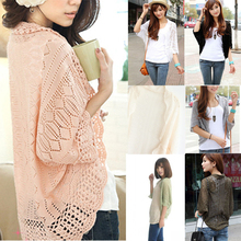 Free-Shipping 2015 Hot Women's Attractive Slimming Solid Hollowed Dolman Sleeve Knitted Crochet Cardigan Outwear