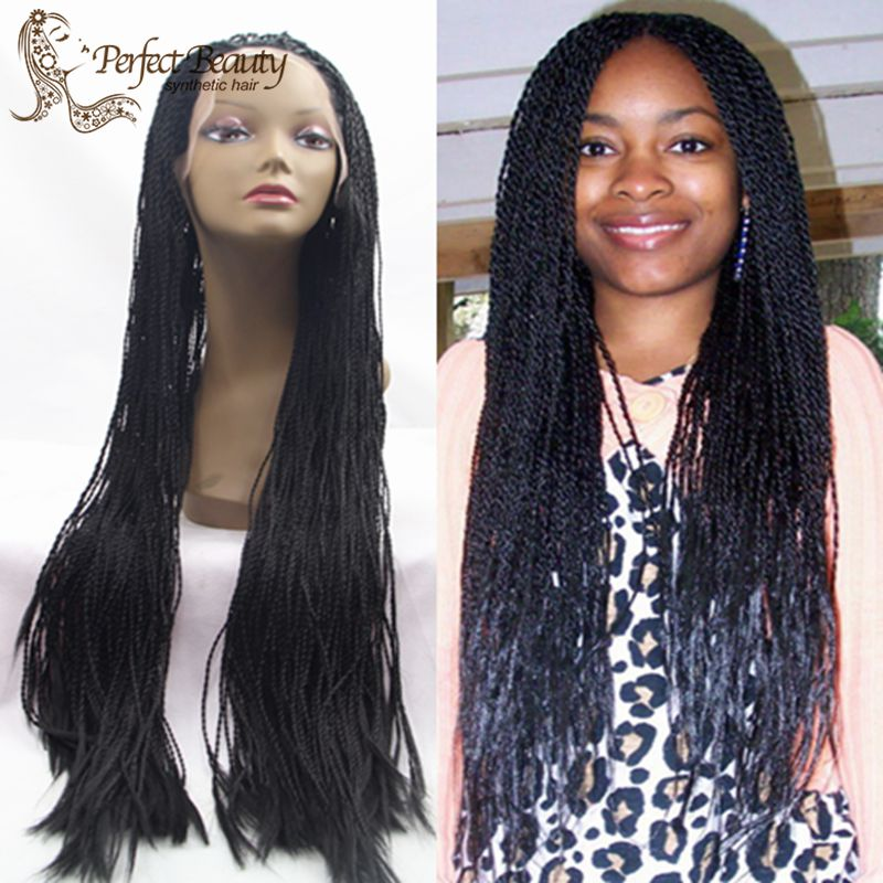 Фотография Long Senegalese Lace Front Wig Heat Resistant Micro Kinky Twists Synthetic Hair Black Wig