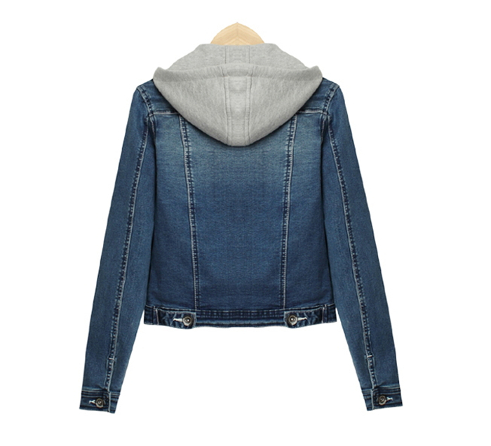 Womens Denim Jacket With Hood - Coat Nj