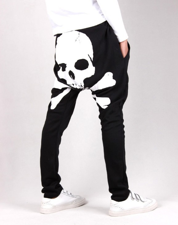 2014 Spring autumn mens pants Skull print harem pants men Casual sport pants men Hip hop