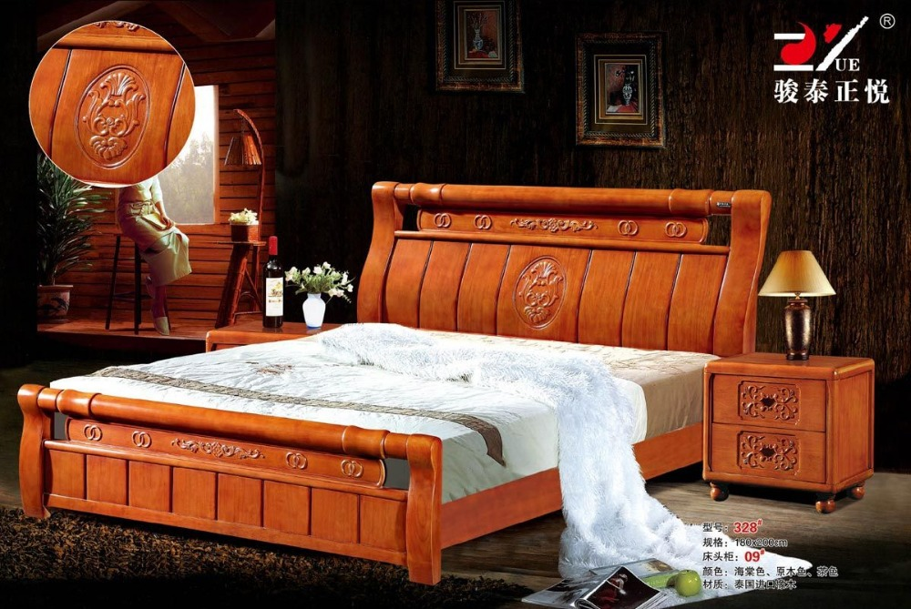 High Quality Bed Oak Bedroom Furniture Bed Factory Price Oak Bed 4 In Antique