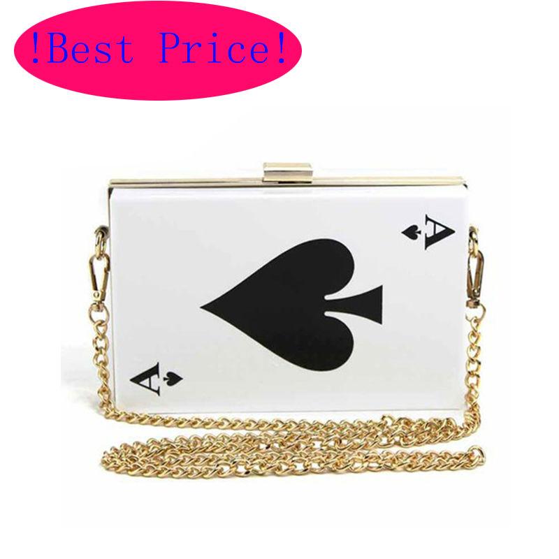 Best Price Hot Acrylic Evening Bags! Brand Designer Poker Clutch Women Queen Handbag Purse Hard Chain Box Perfume Bag Plastic(China (Mainland))