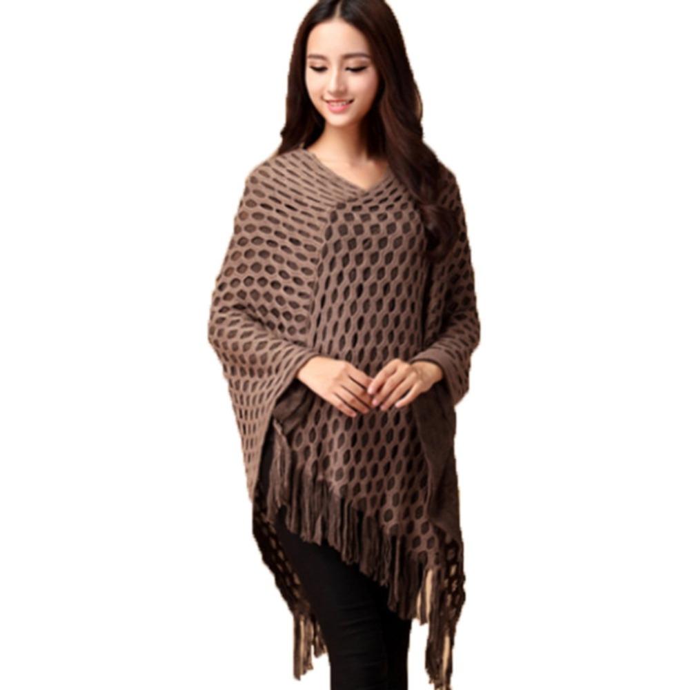 2016 Women Tassels Hem Batwing Sleeve Shawl Cape Poncho Knit Cardigan Sweater Coat RT1