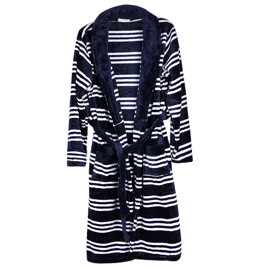 Men\`s Soft Pajama Sets Robe Winter Long Bathrobe Male Popular Men Pajamas Comfy Sleepwear Men Soft Nightgown Nightwear Blue