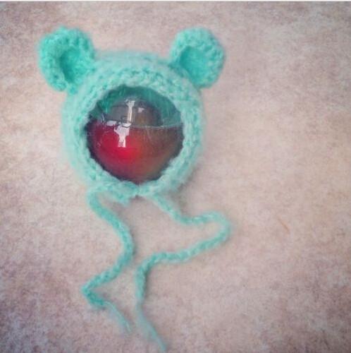Handcraft Mohair fluffy crochet Teddy bear Bonnet, Hat, Beanie. Photography prop. Newborn ,Baby Photography Props(China (Mainland))