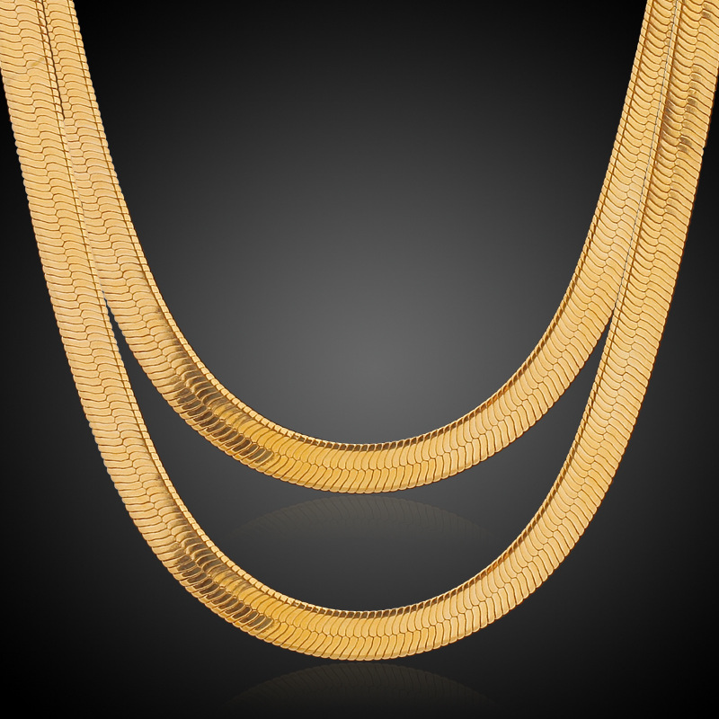 18k Yellow Gold Plated Herringbone Snake Chain Necklace Punk Hip-hop Male Jewelry Gold Chain For Men 5 Sizes(China (Mainland))