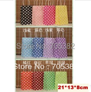 Polka Dot kraft paper gift bag, Festival gift bags, Paper bag with handles, wholesale price (SS-1533)(China (Mainland))