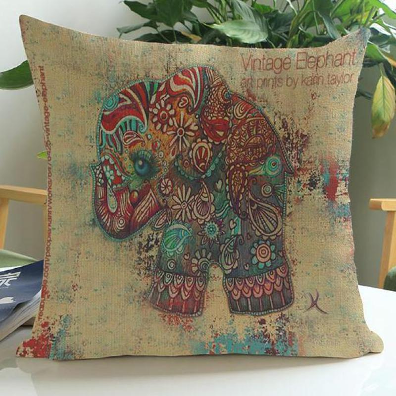 Manufacturers Direct Supply 2016 New Ink Painting Elephant Short Soft Plush Decorative Throw Pillow Cushion For Home Chair(China (Mainland))