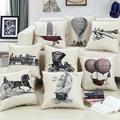 Vintage European Home Wedding Decorative Sofa Car Cushion Without Pencil sketch Pattern Pillowcase 18 Cotton Linen