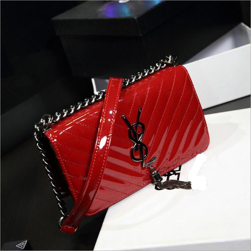 bags handbags women famous brands messenger bag fashion striped patent leather shoulder bag Crossbody bag feminina bolsas