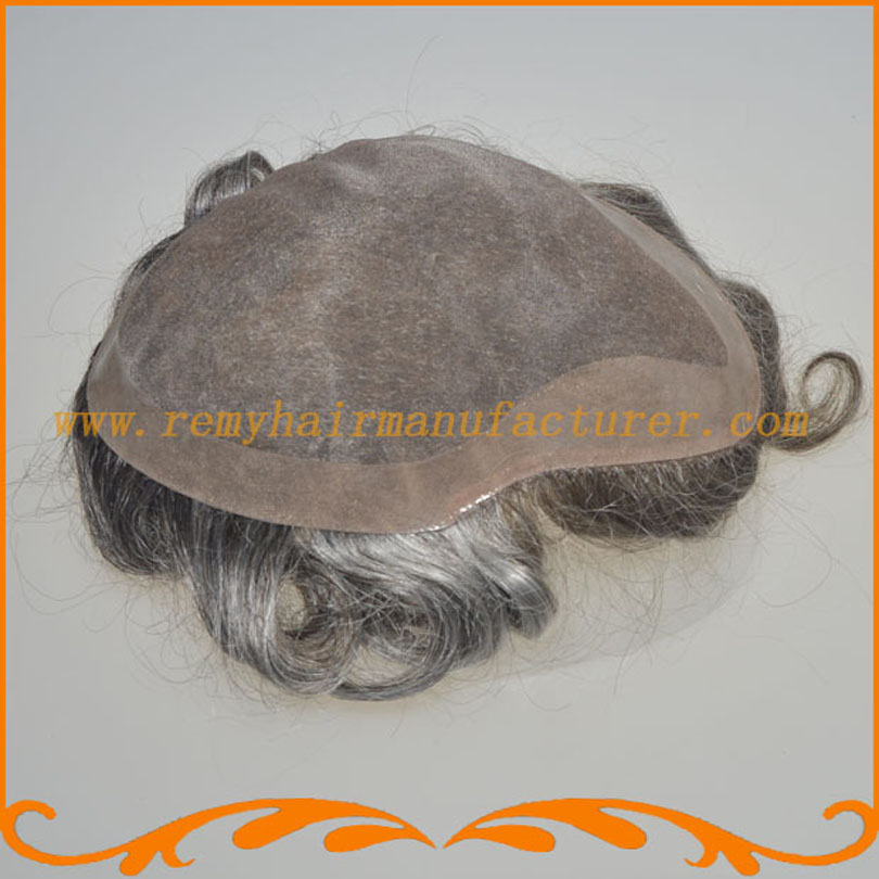 Stock toupee,7*9inch mono and PU around, v-loop natural looking  Indian hair ,mens wig .free shipping DHL.FEDex<br><br>Aliexpress