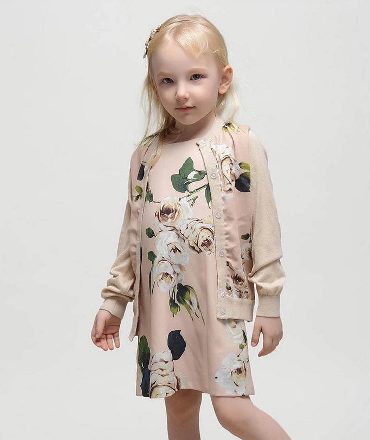 Здесь можно купить  2015 Spring/Autumn Kids Knitted Vest White Rose Print Pull Fille Girl Cardigan Sweater   Детские товары