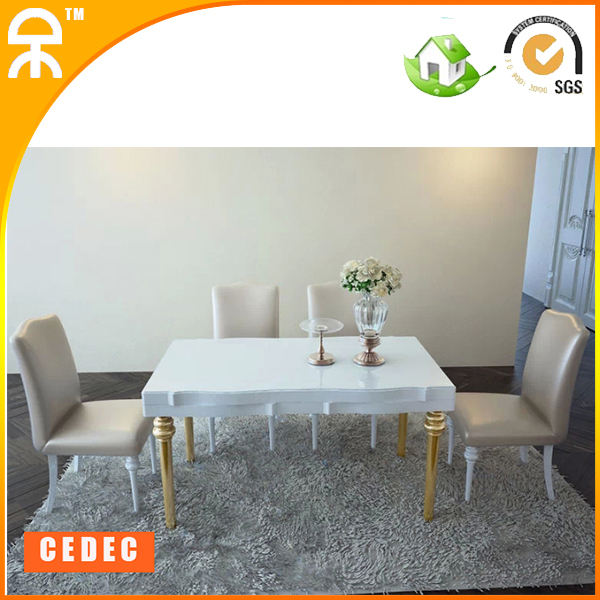 (1 table +4 chair )1.35 m modern white rectangle dining table furniture #CE-989-T(China (Mainland))