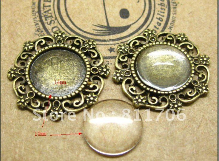 14mm antique Pendant Cabochon Setting Tray+14mm Glass Cabochon/free 1pcs glue<br><br>Aliexpress