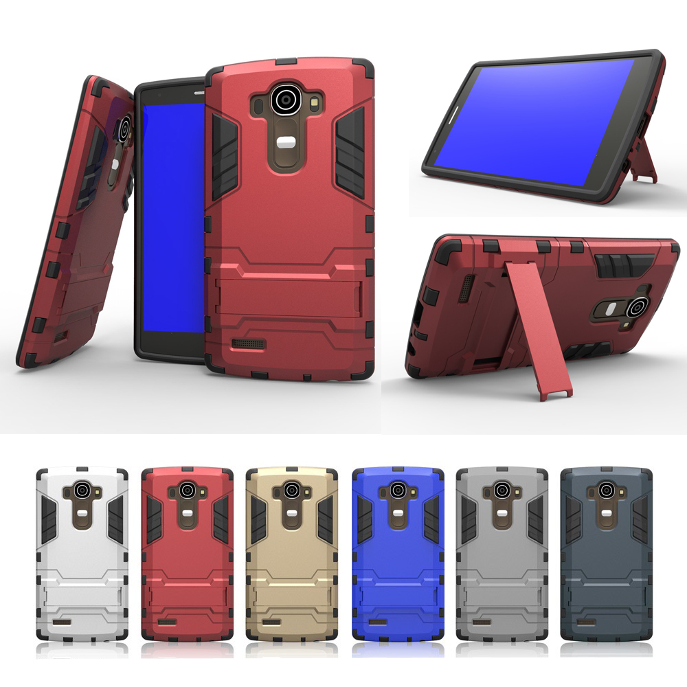 For LG G4 H818 Anti-knock Protection Hybrid Hard Plastic Shell + Soft Inner Cover Skin w/ Stand Holder Phone Case(China (Mainland))