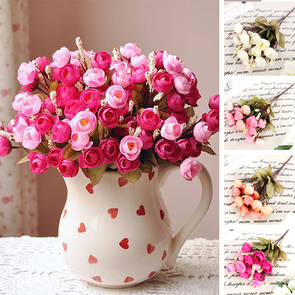 Artificial Red Rose Silk Flowers 18 Flower Heads Camellia Magnolia Floral Wedding Peony Bouquet Hydrangea Decor