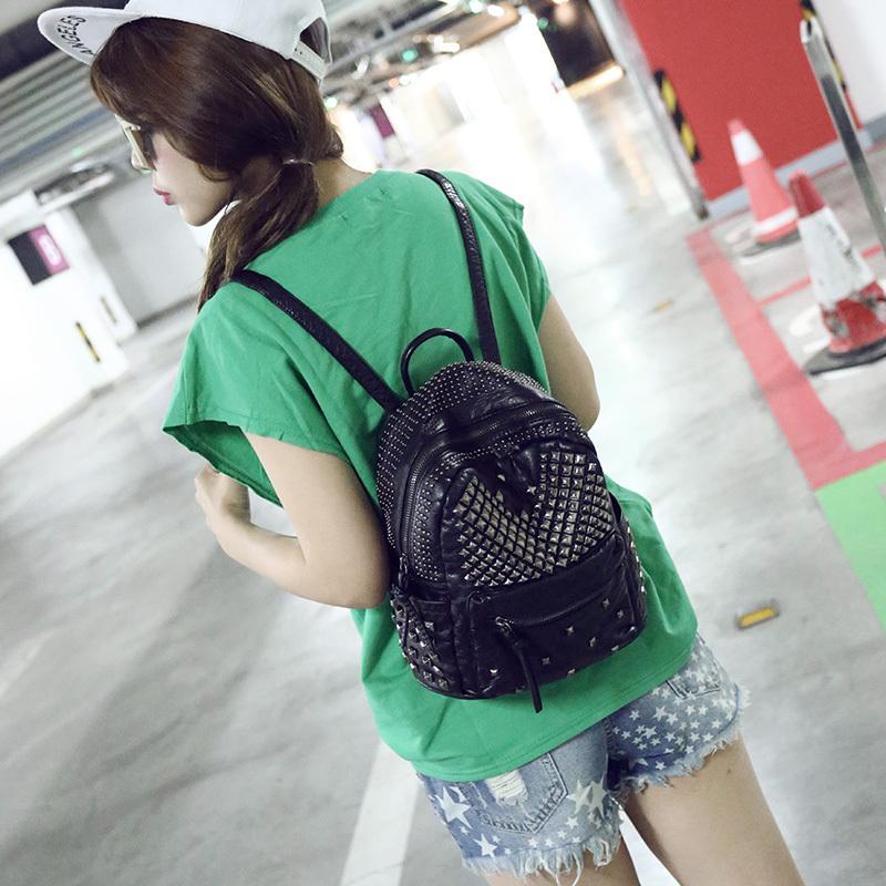 Nouveau Design sac d'école des femmes sac à dos épaules sacs de voyage femmes Pu en cuir avec Soft Black blanc gris sac(China (Mainland))
