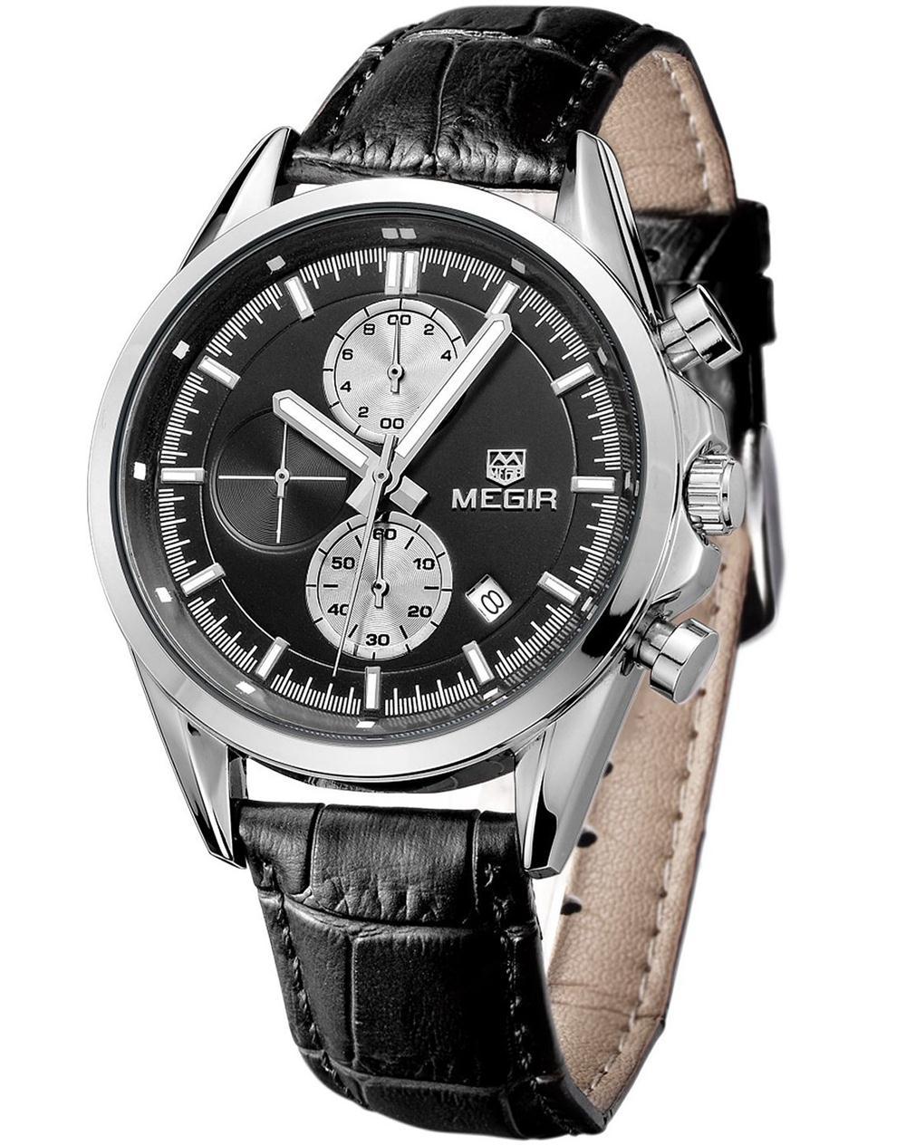 MEGIR Brand 2015 Mens Business Casual Watch Analog Quartz Leather Strap Wristwatches WaterProof relogio masculino Dial MGE22<br><br>Aliexpress