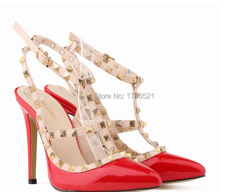 European and American fashion personality sexy shoes hollow rivets fine stitching shoes with high heels h179<br><br>Aliexpress