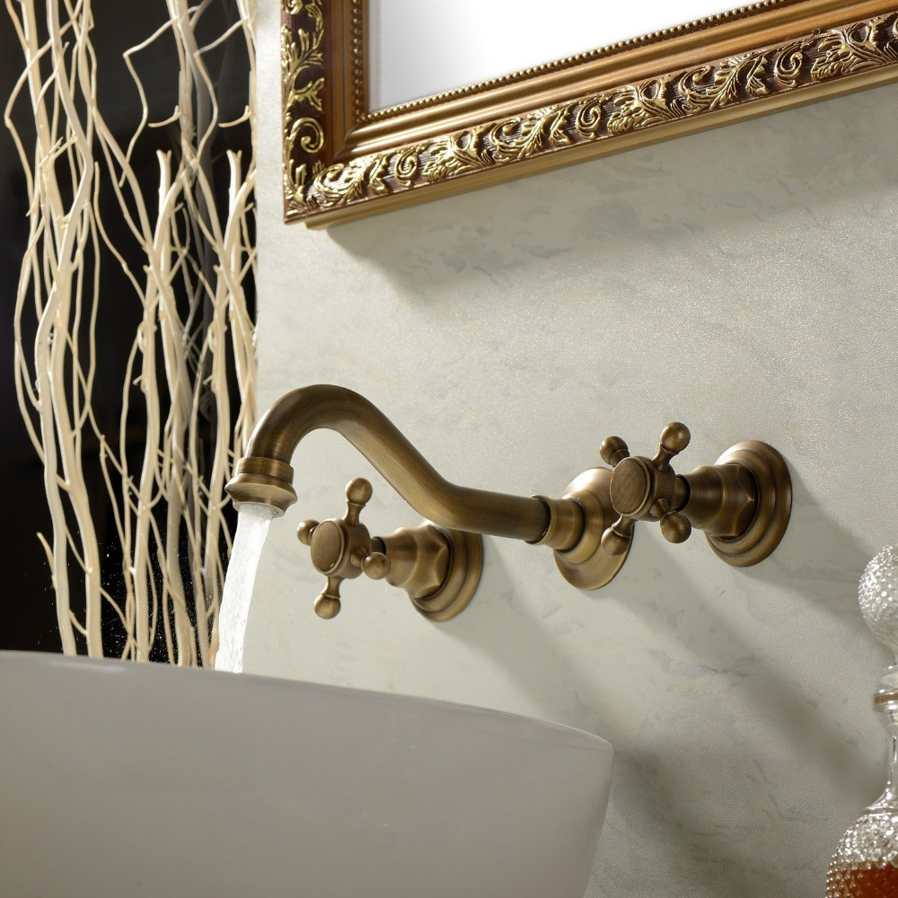 Handle Wall Mount Antique Inspired Solid Brass Bathroom Sink Faucet ...