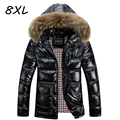 8XL Winter Jacket Men Down Jacket 2016 White Duck Down Thick Coat Hood Natural Pure Fur