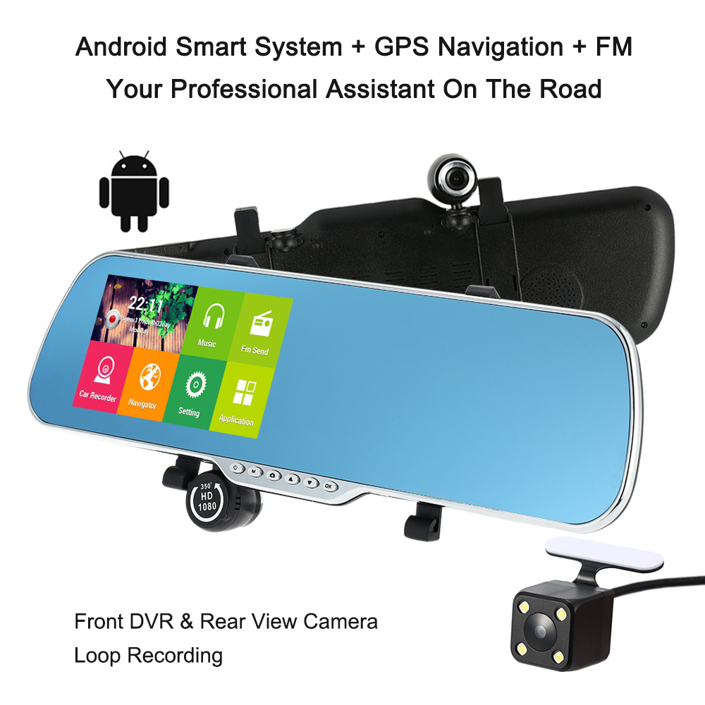 """Car Camera Recorder Rearview Mirror DVR 5"""" 1080P Android Smart System GPS Navigation Dual Lens Front Rear Detection Night Vision(China (Mainland))"""