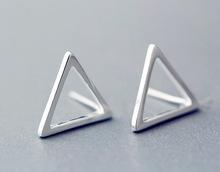 925-sterling-silver triangle Stylish geometry stud earrings boucle d'oreille femme sterling silver jewelry earrings for women