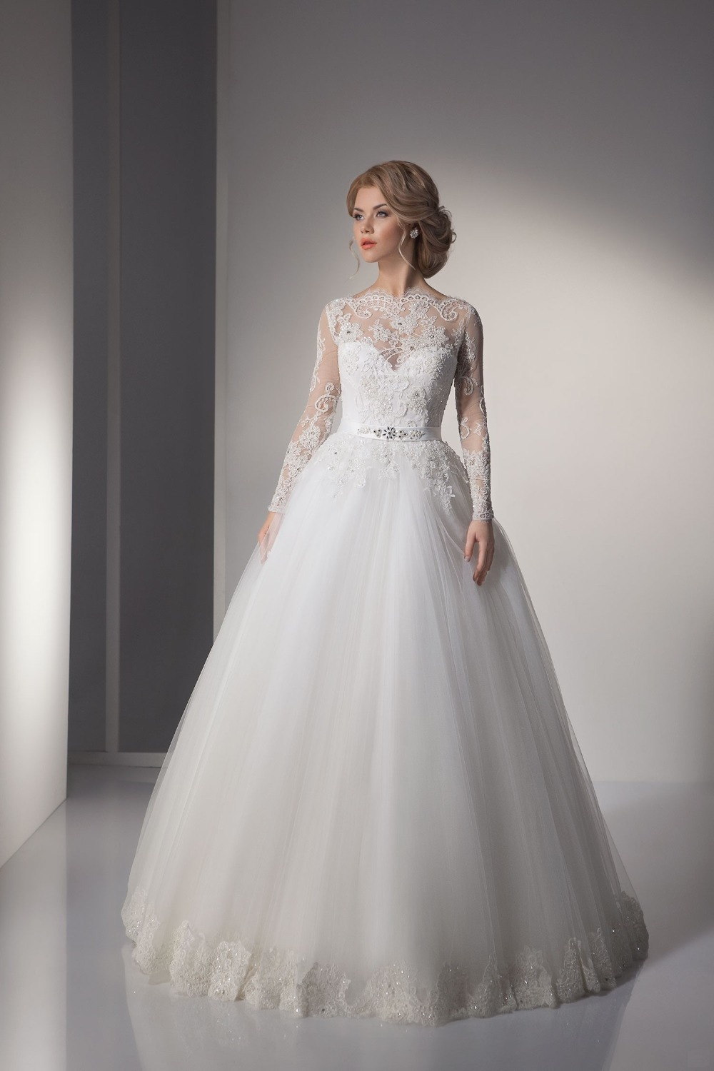 The gallery for elegant lace wedding dresses with sleeves for Elegant ball gown wedding dresses