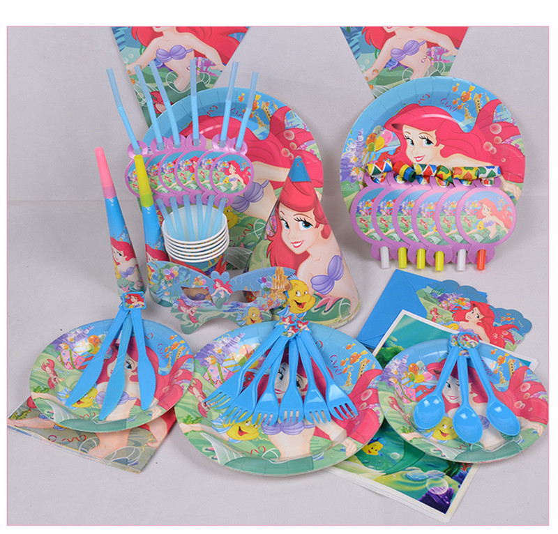 6 person disposable use tableware set Toon Mermaid theme party decor Children's holiday birthday party supplies decor(China (Mainland))