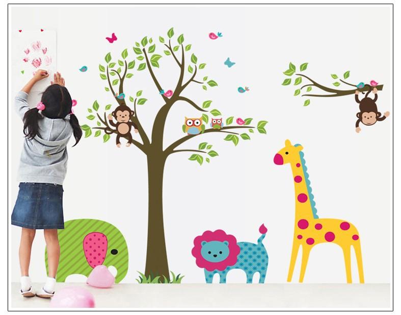 Df5071 b ho del rbol de la jirafa del vinilo pared for Tablero del deco del sitio del bebe