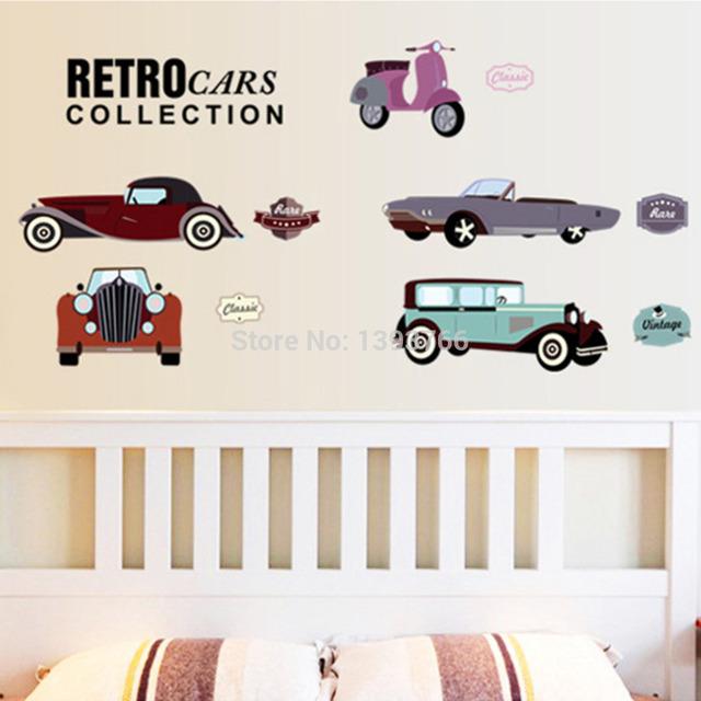 Мультфильм ретро автомобили стены стикеры для детей номеров ребенок украшение помещения 7213 детские декор обои наклейки на стены автомобили стикер