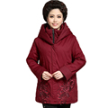 Middle Aged Woman Hooded Quilted Jacket Red Green Black Overcoat Women Warm Puffer Coat With Hood