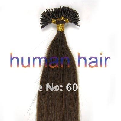 41cm/46cm/51cm Keratin glue stick tip/I-Tip remy Indian hair extension 120gram/150gram #08 Chestnut brown color 300pieces/Lot(China (Mainland))