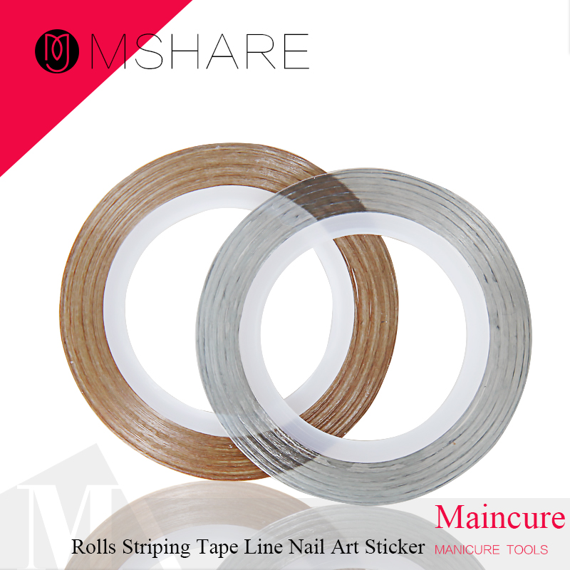 MSHARE 2 Rollers Striping Gold +Silver Tape Line Nail Art Sticker Tools Beauty Decorations for on Nail Stickers(China (Mainland))