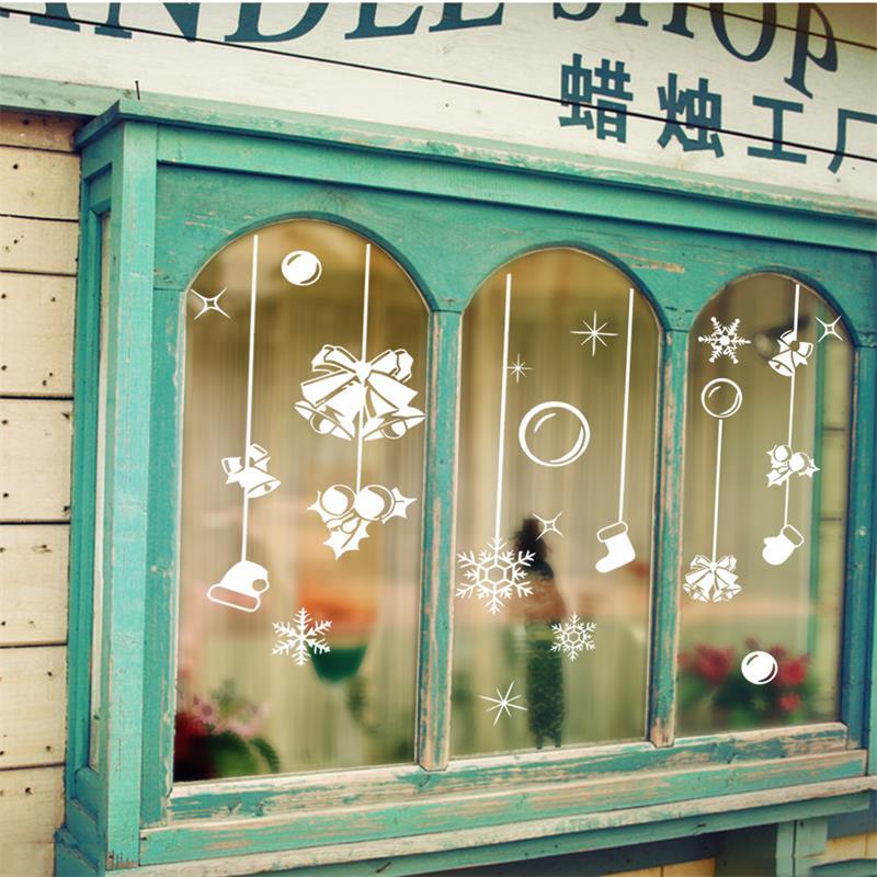Ornamento do natal de bell luvas meias adesivos floco de neve luz da janela de vidro decorativo adesivos de parede xmas49(China (Mainland))